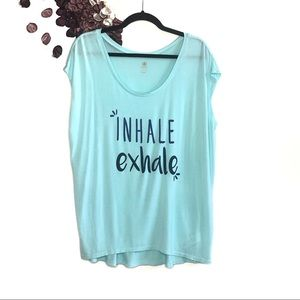 Gaiam Oversized Blue Inhale Exhale Graphic Tee